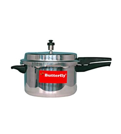 Butterfly Standard Plus Outer Lid Aluminium Pressure Cooker with Induction Base, 5 Litres, Silver