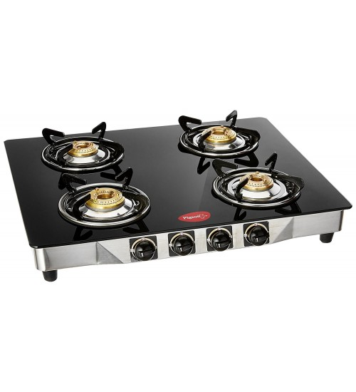 Pigeon Blackline Smart Stainless Steel 4 Burner Gas Stove, Black