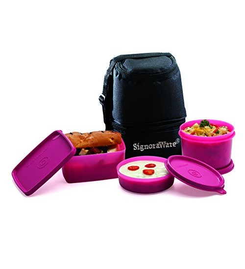 Signoraware Trio Lunch Box with Bag, Pink