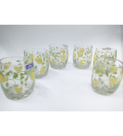 Indian Made Thick Walled Juice Glass with Prints Mini