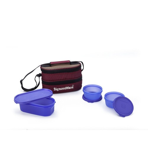 Signoraware Healthy Lunch Box with Bag, Deep Violet