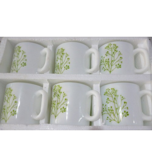 LaOpala Coffee Mugs Set of 6 Straight Shape Design Trinity Green