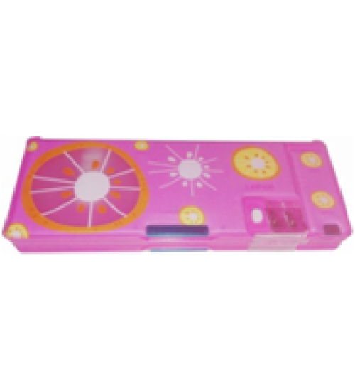 Double Sided Pink Fruit Design Printed Art Plastic Pencil Box