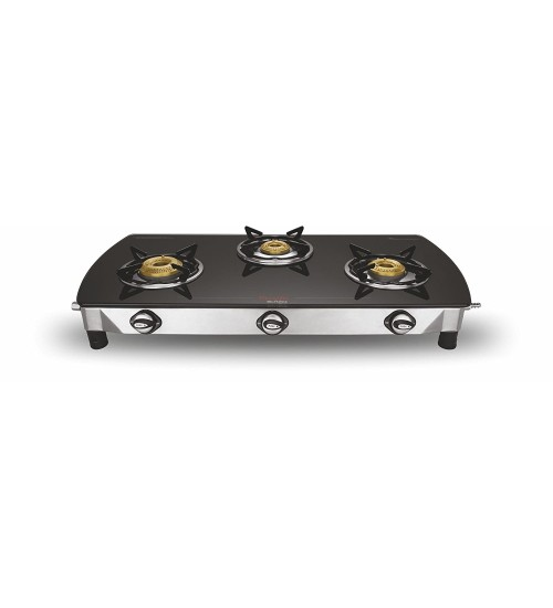 Preethi Blu Flame Blaze Glass Top 3-Burner Gas Stove,Black