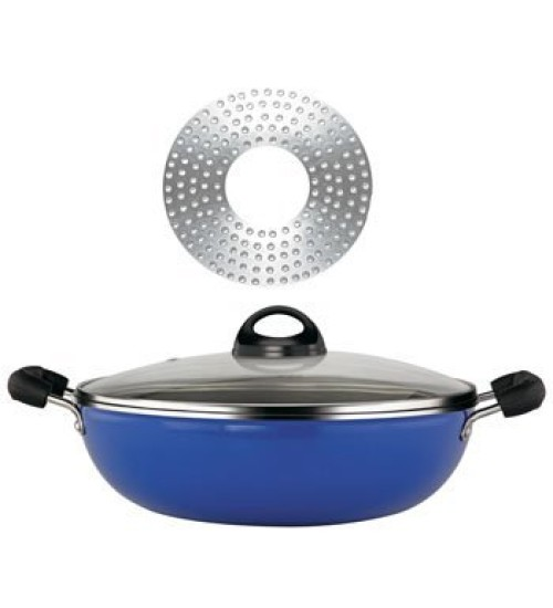 Premier Induction Bottom Non-Stick Cookware - Kadai With Glass Lid 26 cm (Colour May Vary)