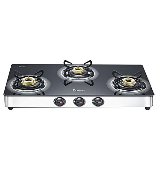 Prestige Royale Plus Stainless Steel 3 Burner Gas Stove, Black (40178)
