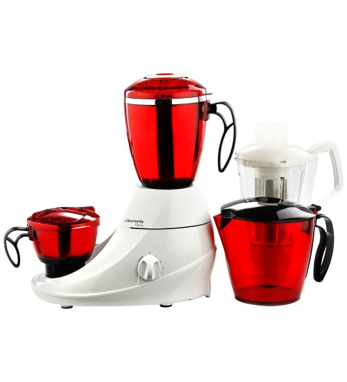 Butterfly Desire Mixer Grinder with 3 Jars (Red and White)