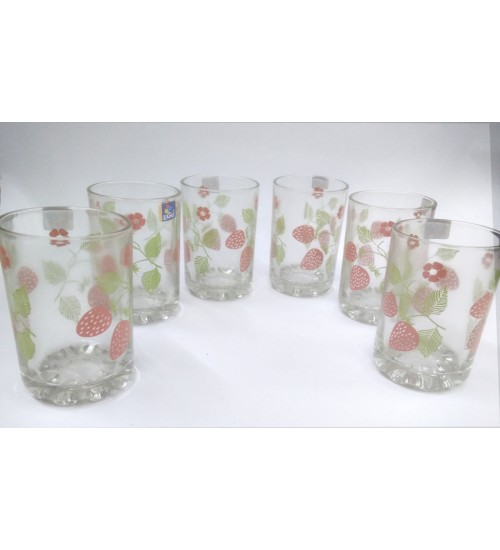 Indian Made Thick Walled Juice Glass with Printed Design