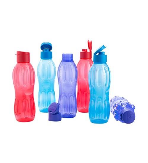 Signoraware Fliptop Aqua Plastic Bottle Set, Set of 6, 1 Litre, Multicolour
