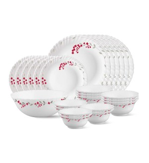 Larah By Borosil Mimosa Opalware Glass Dinner Set, 25-Pieces, White