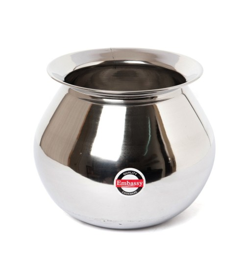Embassy Stainless Steel Pongal Pot/Gundu, 2.25 Litres (Size 1)